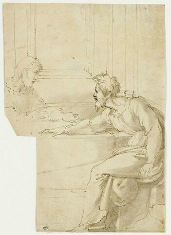 Deux apôtres, assis à une table (d'après la Cène)