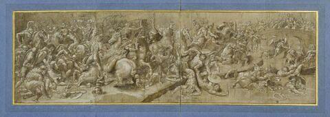 Combat de cavaliers et de fantassins, d'après la Bataille de Constantin