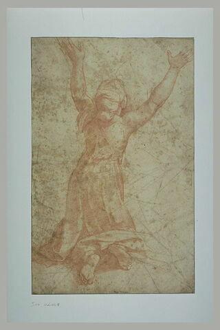 Femme agenouillée, de dos, les bras levés : figure de l'Incendie du Bourg