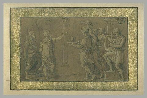 Enée,  Achate et quatre serviteurs