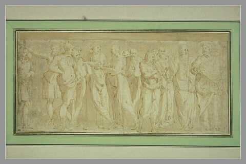 Aristote, Platon, Socrate et treize hommes : figures de l'Ecole d'Athènes