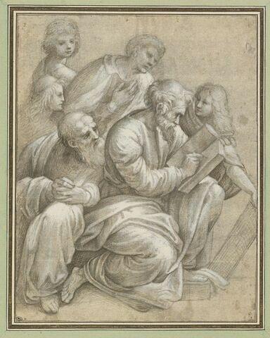 Six figures drapées, l'une assise, tenant un livre