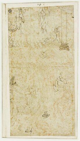 Colonne corinthienne et cinq esquisses de figures