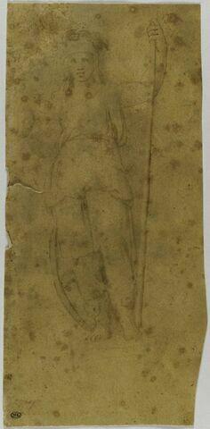 Cariatide tenant une hampe, un bouclier appuyé contre la jambe : la Loi