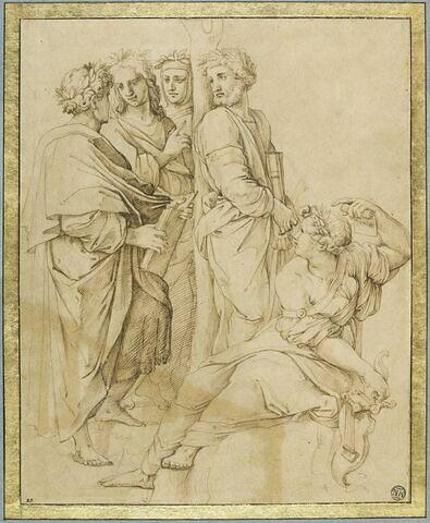 Poétesse assise at quatre poètes debout : figures du Parnasse