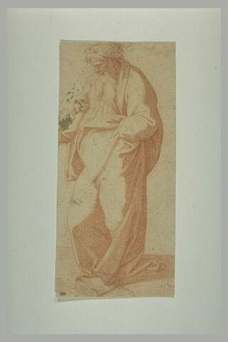 Vieil homme drapé, debout, de profil : Noé dans la Construction de l'Arche