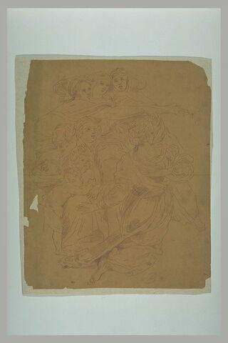 Six femmes et deux enfants : figures dans Héliodore chassé du Temple