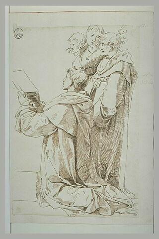 Cinq hommes drapés, quatre debouts, le cinquième agenouillé tenant un livre
