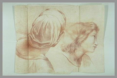 Tête de femme vue par derrière ; tête de jeune homme de profil