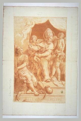 Saint Sylvestre Ier, en habit pontifical, assis, écrivant