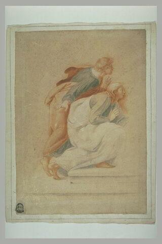 Deux jeunes hommes drapés et esquisse de quatre autres figures