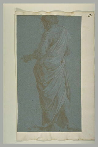 Homme drapé, vu de dos : figure dans la Dispute du Saint Sacrement