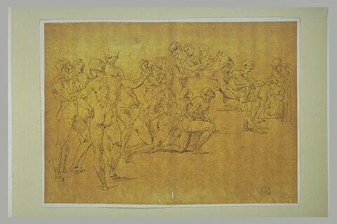 Dix-sept figures nues, debout, assises ou agenouillées