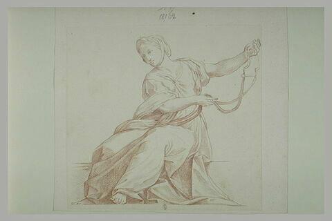 Femme assise tenant un mors : la Tempérance