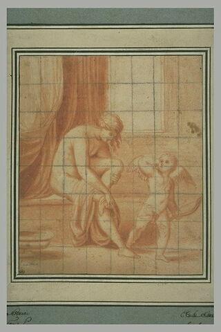 Vénus s'essuyant les pieds, au sortir du bain, auprès de l'Amour