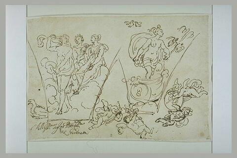 Vénus, Junon, Cérès ; Vénus traversant les airs ; quatre putti volant