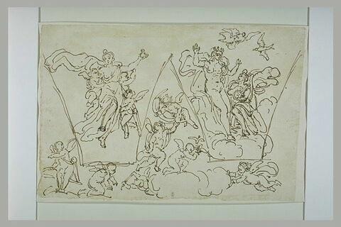 Psyché portée au palais ; Psyché présentant à Vénus l'eau du Styx ; putti