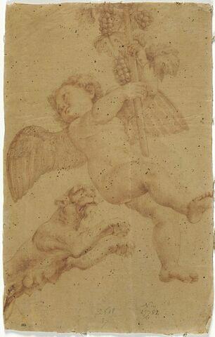 Amour volant portant le thyrse de Bacchus et une panthère