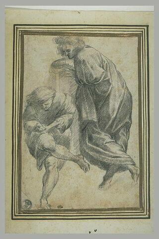 Deux hommes, l'un debout, l'autre écrivant : figures de l'Ecole d'Athènes