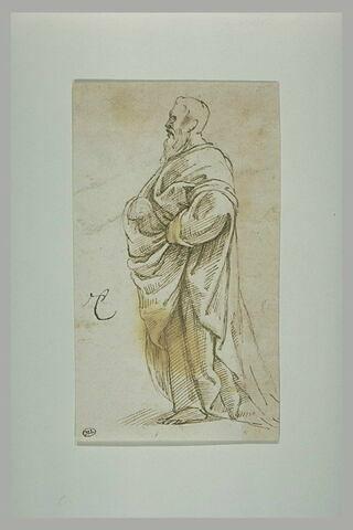 Vieil homme drapé, debout : figure de l'Ecole d'Athènes