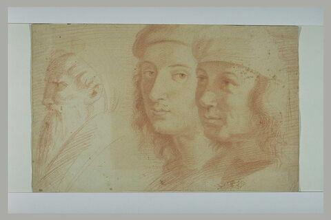 Raphaël, Pérugin et une autre tête : figures de l'Ecole d'Athènes