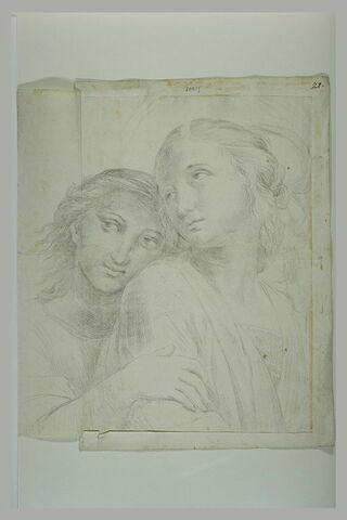 Deux jeunes femmes, vues en buste : Euterpe et Clio dans le Parnasse