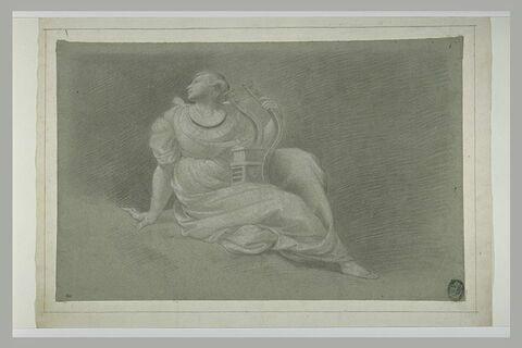 Jeune femme, tenant un instrument de musique : figure du Parnasse