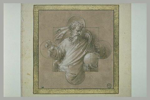 Dieu le Père bénissant et tenant la sphère dans un encadrement quadrilobé