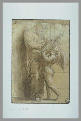 Saint Matthieu, écrivant dans un livre, soutenu par un ange