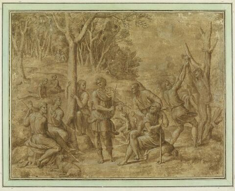 Apollon jouant de la lira da braccio, Cybèle et le supplice de Marsyas