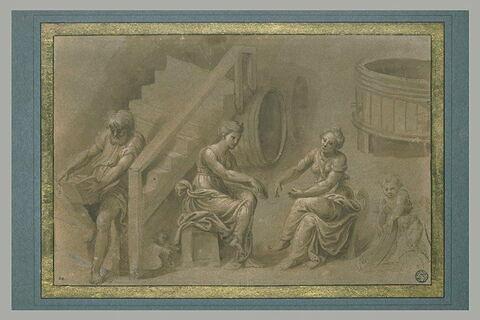 Un homme, deux femmes filant et un enfant, dans un cellier
