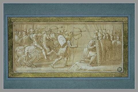 Cavaliers, archers et fantassins romains en ordre de bataille