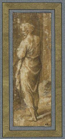 Vieillard debout, drapé, vu de dos, la tête de profil