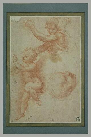 Ange vu en buste de trois quarts ; enfant nu, assis ; tête d'enfant