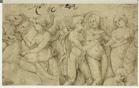 Une Victoire ailée, un homme et deux femmes nus, une autre figure