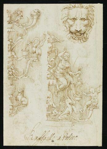 Deux moitiés de candélabres avec des motifs anthropomorphes, zoomorphes et végétaux
