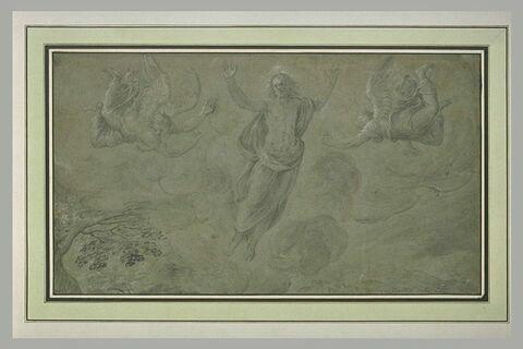Le Christ en gloire entre deux anges volant, au-dessus d'un paysage