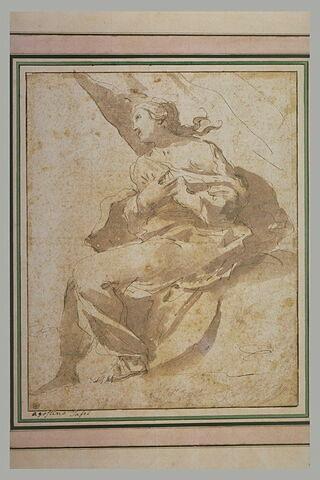 Femme drapée, assise, les bras croisés sur la poitrine