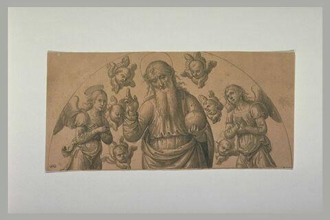 Dieu bénissant, tenant le Globe, entouré d'anges