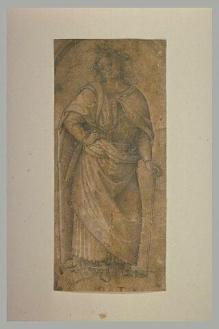 Homme debout, drapé, appuyé sur une canne : étude d'après Caton