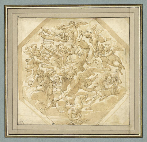Ange volant, tenant un phylactère, entouré d'anges musiciens et d'angelots