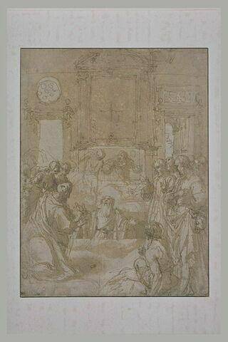 Dans une église, le Christ ressuscite un vieillard debout dans la fosse
