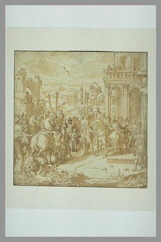 L'Empereur Constantin tenant les brides du cheval du pape Sylvestre