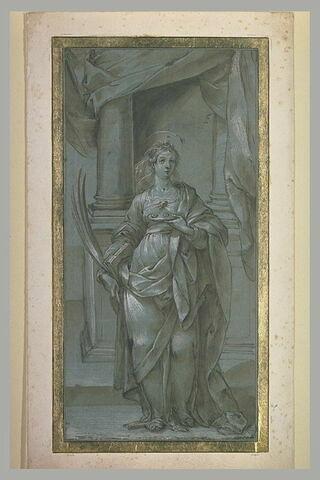 Sainte Lucie tenant un livre sous le bras et ses yeux sur une coupe
