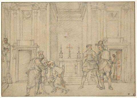 Artistes dessinant d'après Michel Ange dans la Chapelle Médicis