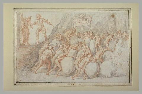 Dante et Virgile aux Enfers rencontrant les Avares et les Prodigues