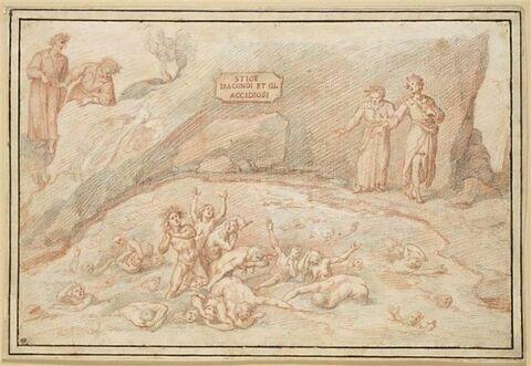 Dante et Virgile aux Enfers rencontrant les Coléreux et les Acédieux