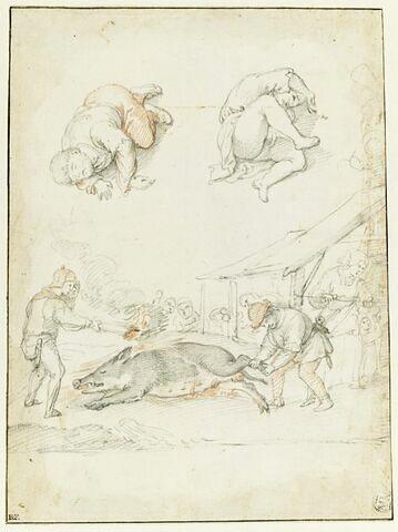 Deux figures endormies et deux hommes flambant un sanglier