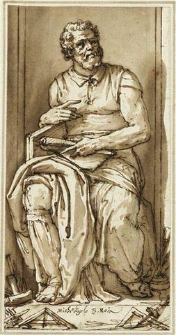 Portrait de Michel-Ange, assis dans une niche, dans la position de son Moïse