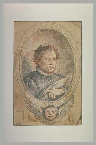 Portrait de Taddeo Zuccaro entouré d'une bordure ovale avec tête de chérubin